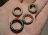 "A great value group of 4 x assorted Celtic bronze and potin ""Ring Money's"" found in Essex."